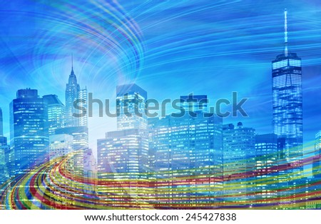 Abstract Illustration of an urban highway going to the modern city downtown at sunset or sunrise with colorful light trails. Image of New York is from my collection. - stock photo