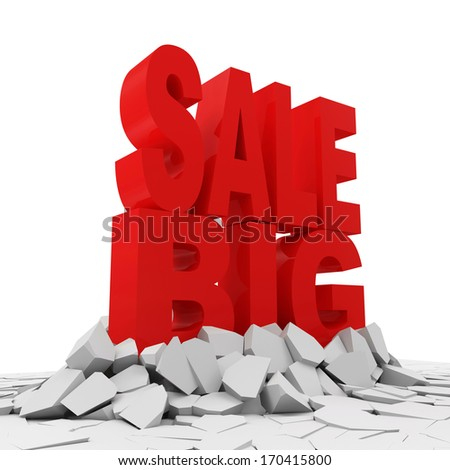 Abstract Illustration of Big Sale Breaking Through from Ground. Sale Concept