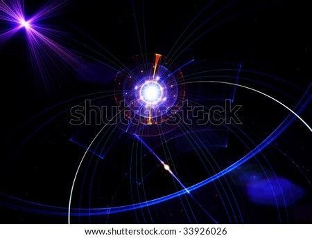 Abstract illustration of blue planet with rays of light and energy lines - stock photo
