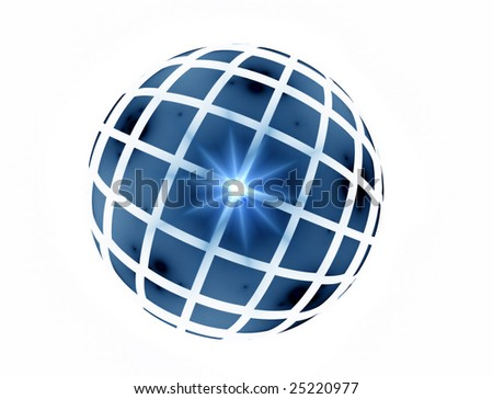 Abstract illustration of blue sphere reflecting light