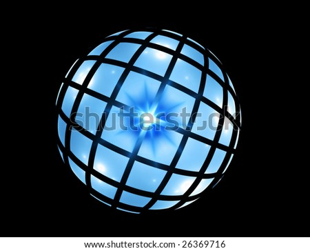 Abstract illustration  of  blue sphere  reflecting light on black background