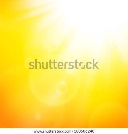 Abstract illustration of bright white sun and lens flares on yellow-orange background. Summer banner design template with sunburst