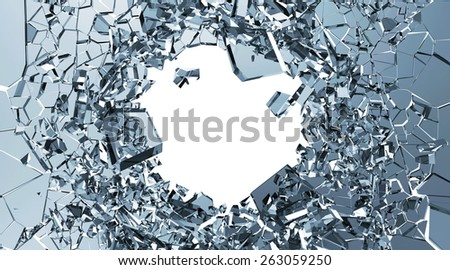Abstract Illustration of Broken Blue Glass into Pieces isolated on white background with place for Your text - stock photo