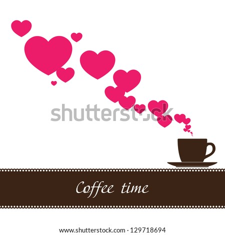 Abstract illustration of coffee-cup and hearts. Raster version. - stock photo