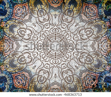Abstract illustration of colorful pattern with mandala elements