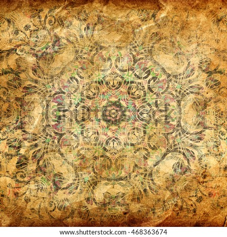 Abstract illustration of colorful pattern with mandala elements on grunge background