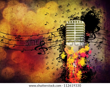 Abstract illustration of 3d microphone on grunge background. - stock photo