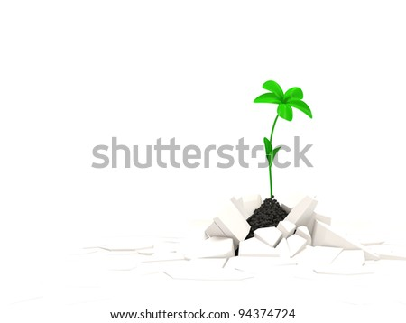 Abstract illustration of Fresh Green Plant Growing Through Crack with place for your text - stock photo