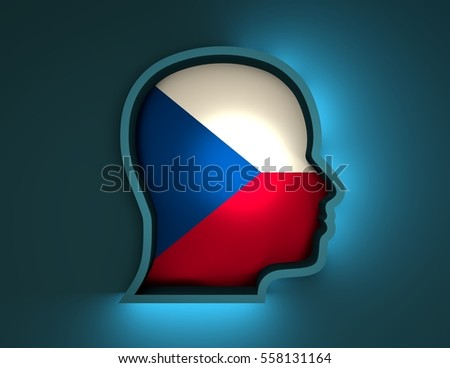 Abstract illustration of head silhouette with Czech national flag inside. 3D rendering. Neon light