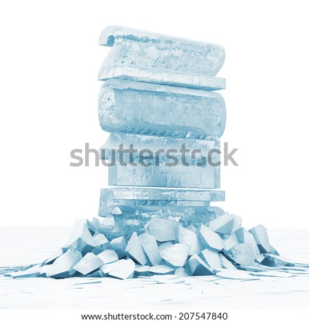 Abstract Illustration of New Year 2015 Breaking Through from Ice Floor - stock photo