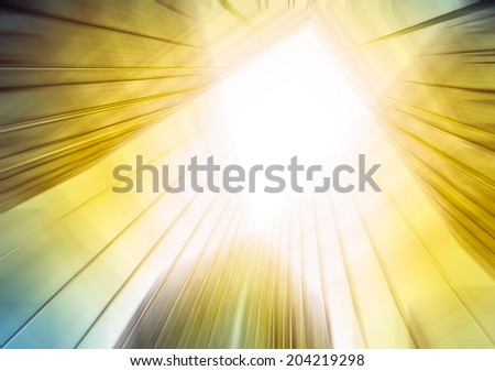 Abstract illustration of perspective wide angle view to steel light sky blue glass high rise tall building skyscraper commercial modern city of future Business concept of success industry architecture - stock photo