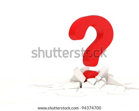 Abstract Illustration of Red Question Mark with place for your text - stock photo