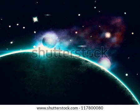 Abstract illustration of rich star forming nebula and big planet.