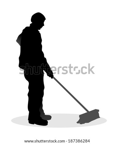 abstract illustration of road sweeper at work