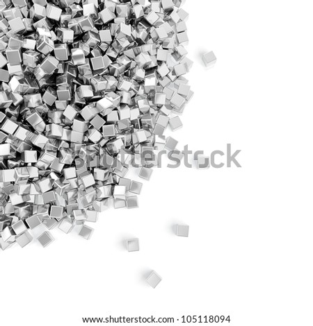 Abstract illustration of silver cubes heap on white background