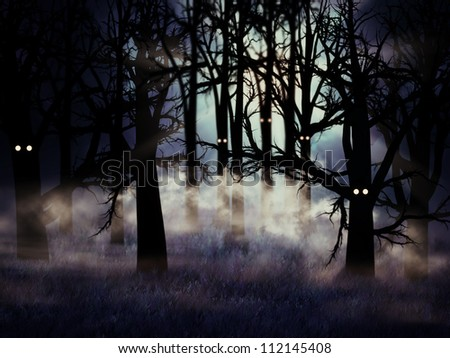 Abstract illustration of spooky foggy forest at halloween night.