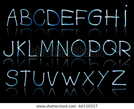 abstract illustration of the alphabet created with light