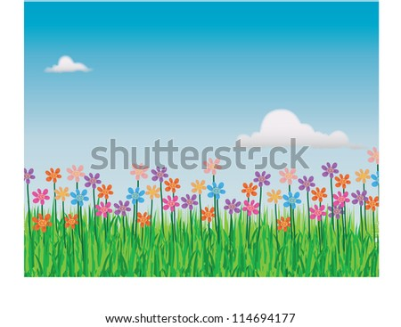 Abstract illustration of the field in springtime with lots of flowers
