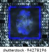abstract illustration of the finger print and binary code - stock photo