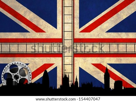 Abstract Illustration of the Union Jack with movie reels and London skyline