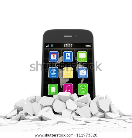 Abstract Illustration of Touchscreen Smartphone Breaking Through From Floor - stock photo