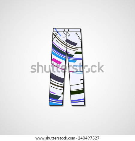 Abstract illustration on pants, template editable.