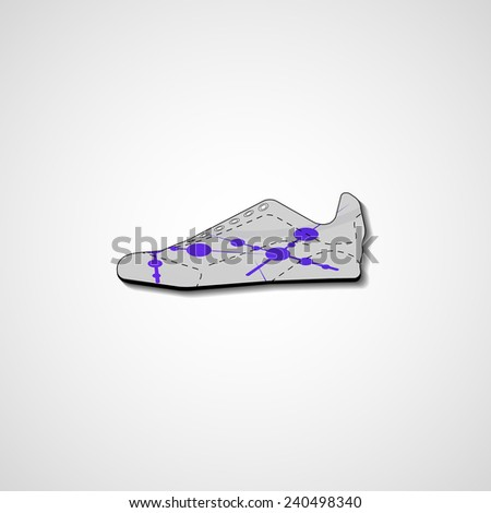 Abstract illustration on sneakers, template editable. - stock photo