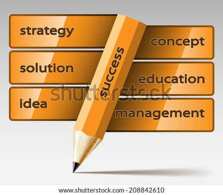Abstract illustration pencil with inscription, on a light background. Business icon.  - stock photo