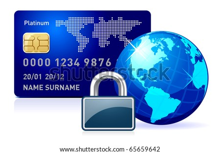 Abstract illustration representing secure online payment on white - stock photo