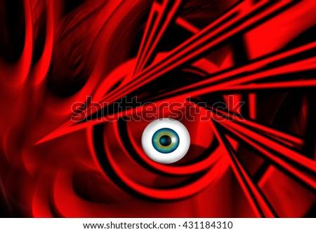 Abstract illustration surreal portrait - stock photo