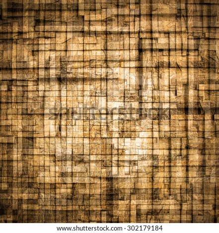 Abstract illustration weathered texture of stained old dark stucco brown and painted red, yellow brick wall background in rural room Grungy rusty square block of darken stonework retro color wallpaper - stock photo