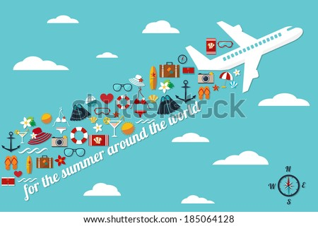 "abstract illustration with airplane in the blue sky with fall summer things and slogan ""for the summer around the world"" card template raster version - stock photo"