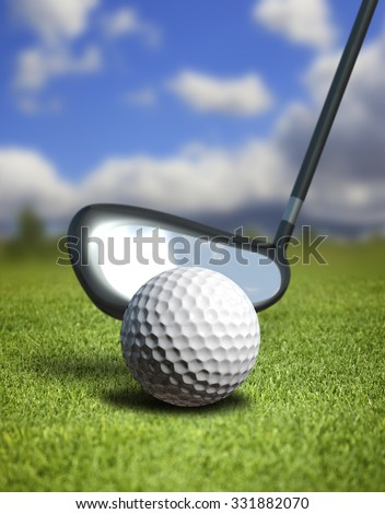 Abstract illustration with ball for golf on herb - stock photo
