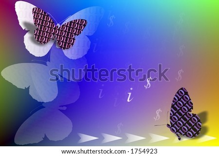 Abstract illustration with binary code butterfly , dollar and information sign as IT concept - stock photo