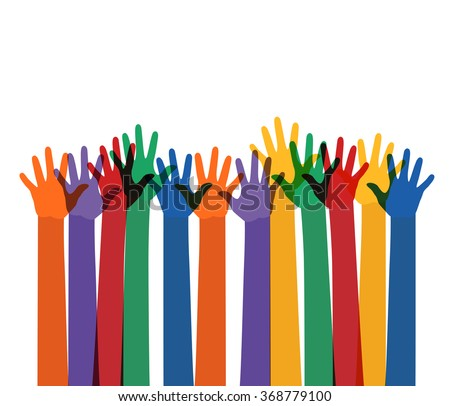 abstract illustration with raising multi color hands. raster version - stock photo