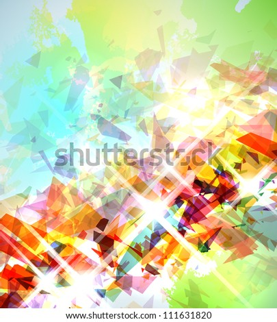 Abstract illustration with shattered elements on soft textured background. - stock photo