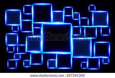 Abstract illustration with squares glowing blue light on dark background - stock photo