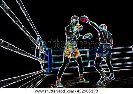 abstract image. Athletes are boxing in the ring extreme Sport mixed martial arts competition tournament moment of battle punches - stock photo