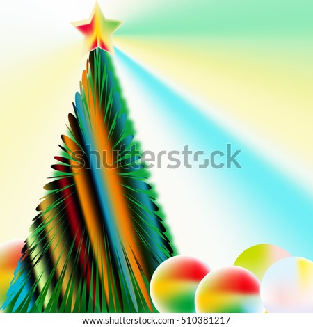 "Abstract image,colorful graphics,greeting card ""Merry Christmas !"""