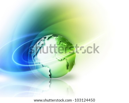 abstract image concept environmental with a green planet - stock photo