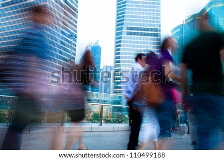 abstract image of a business people rushing - stock photo