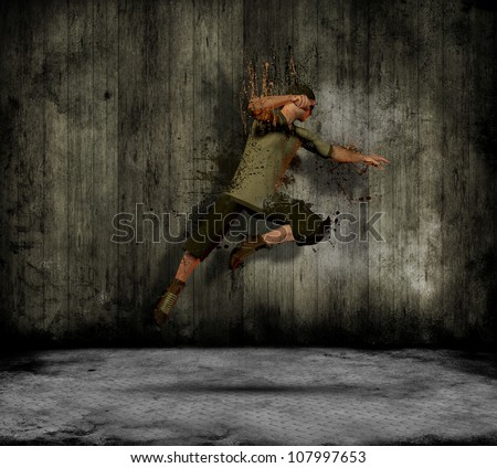 Abstract image of a grunge male dancing in a old style interior