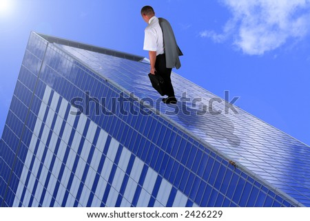 Abstract image of a tired businessman walking on a corporate building.It can suggest somenthing like building a business or a carrier.
