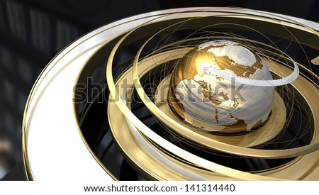 Abstract image of a world globe with spiral orbit in golden texture - stock photo
