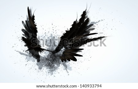 Abstract image of black wings against light background - stock photo