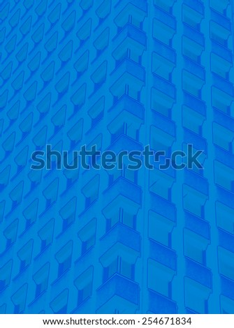 Abstract image of blue building - stock photo