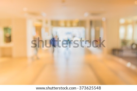 abstract image of blur corridor at the entrance in hotel for background usage . - stock photo
