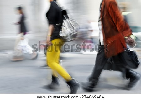 abstract image of business people in the street  modern style and with a blurred background  - stock photo
