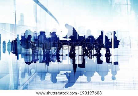 Abstract Image of Business People's Silhouettes in a Meeting - stock photo