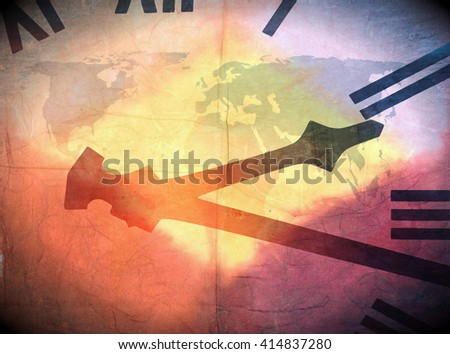 Abstract image of clock face over world map and overlaid with colorful pattern